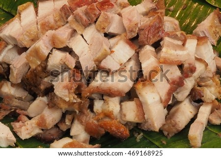 crispy pork with blur background, street food
