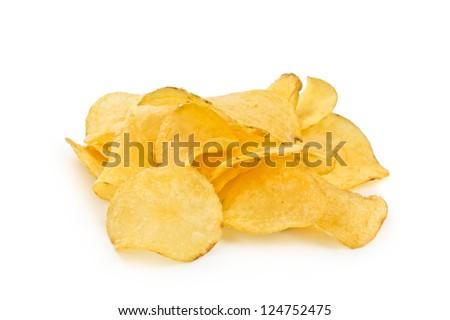 crispy potato chips isolated on white background - stock photo
