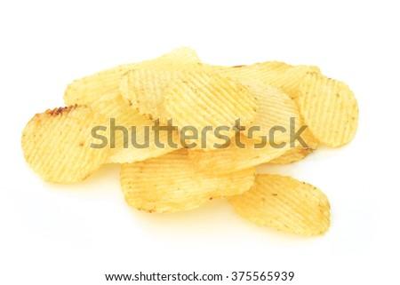 crispy potato chips junk food unhealthy food - stock photo
