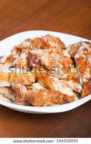 crispy roast rosemary chicken with creamy truffle sauce - stock photo