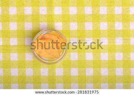 Crispy sweet potato chips in glass bowl - stock photo