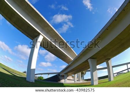 Crisscrossing expressways - stock photo