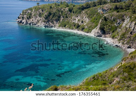 cristal water in Elba Island - stock photo