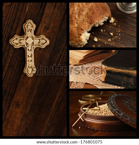 Cristian collage includes images of an ornamental cross on rustic wood, loaf of communion bread, well used vintage bible, and wooden box of mustard seeds (symbol of faith) with cross pendant.    - stock photo