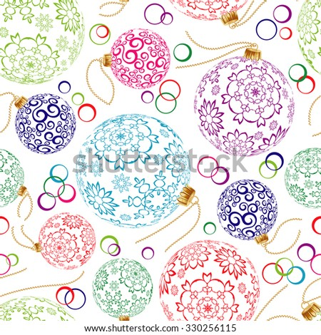 Cristmas colorful ball in seamless pattern for Christmas or New Year for wrapping paper, textile, card and other. - stock photo