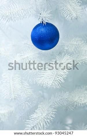 cristmas decoration on the white tree - stock photo