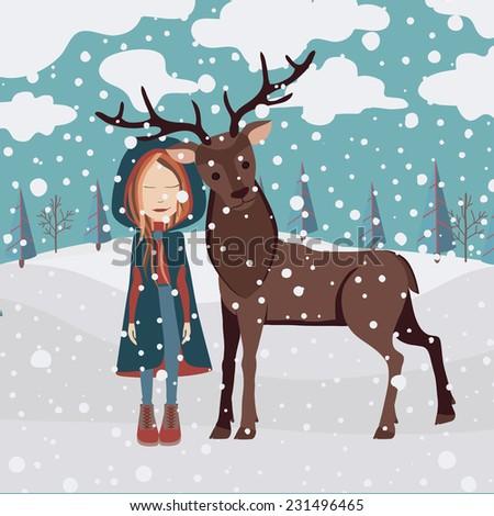 Cristmas greeting card with girl and deer - stock photo