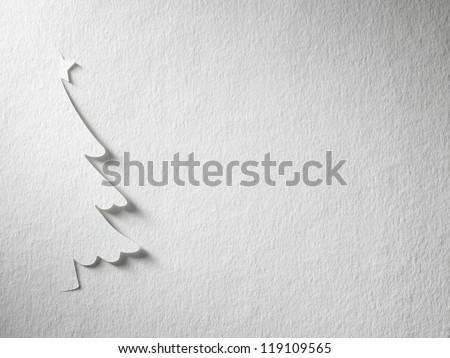 Cristmas tree paper cutting design card. - stock photo