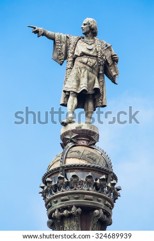 Cristobal Colon sculpture in Barcelona, pointing to the sky. - stock photo