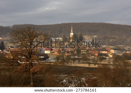 Crit, medieval village and fortified church. Transylvania, Romania, Europe - stock photo