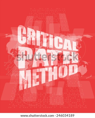 critical path method words on digital screen with world map - stock photo
