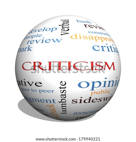 Criticism 3D sphere Word Cloud Concept with great terms such as opinion, blame, critique and more. - stock photo
