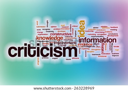Criticism word cloud concept with abstract background - stock photo