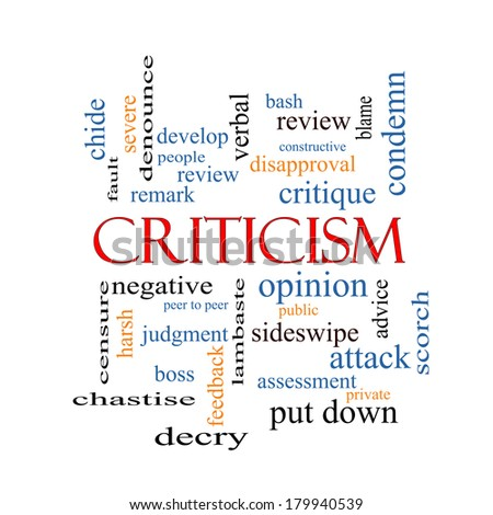 Criticism Word Cloud Concept with great terms such as opinion, blame, critique and more. - stock photo