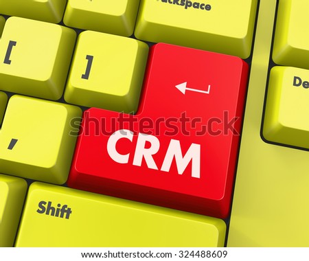 CRM - Business Concept. Button on Modern Computer Keyboard. - stock photo