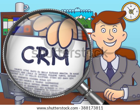 Crm - Customer Relationship Management. Business Man Sitting in Office and Holds Out a through Lens Paper with text. Multicolor Doodle Style Illustration. - stock photo