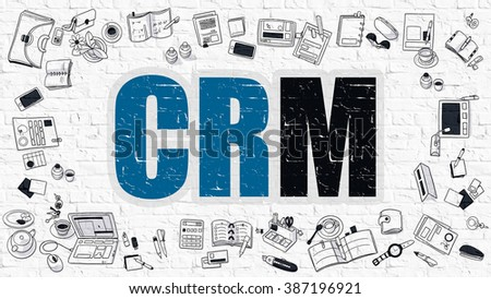 CRM - Customer Relationship Management. Multicolor Inscription on White Brick Wall with Doodle Icons Around. CRM Concept. Modern Style Illustration with Doodle Design Icons.  - stock photo