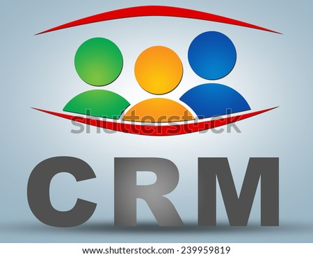 CRM - Customer Relationship Management text illustration concept on grey background with group of people icons - stock photo