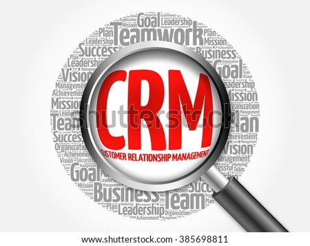 CRM - Customer Relationship Management word cloud with magnifying glass, business concept - stock photo