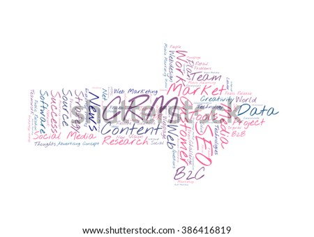 CRM word cloud shaped as a arrow to the right - stock photo