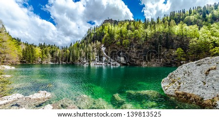 Crno jezero (Black lake), the lowest of all the Triglav Lakes. The Julian Alps are a mountain range of the Southern Limestone Alps that stretches from northeastern Italy to Slovenia.