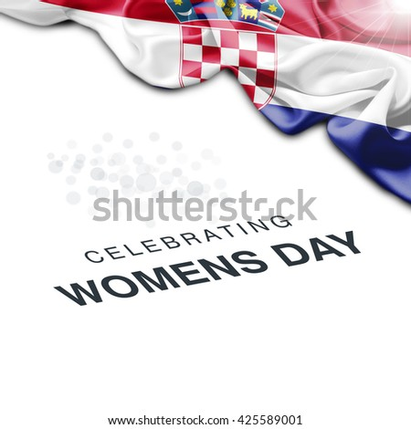 Croatia Abstract waving Flag and Plain background with Typography Celebrating Women Day 8th March