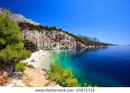 Croatia, adriatic sea background beach - stock photo