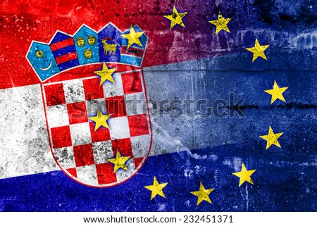 Croatia and European Union Flag painted on grunge wall