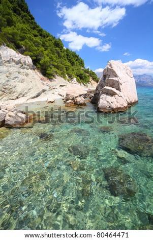 Croatia - beautiful Mediterranean coast landscape in Dalmatia. Marusici beach - Adriatic Sea (Makarska Riviera region). - stock photo
