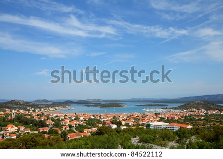 Croatia - beautiful Mediterranean coast landscape in Dalmatia. Murter island Adriatic Sea view - town Murter.