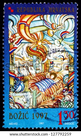 CROATIA - CIRCA 1997: a stamp printed in the Croatia shows Contemporary Christmas Painting, by Ivan Antolcic, Christmas, circa 1997