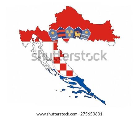 croatia country flag map shape national symbol - stock photo