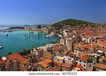 Croatia. Dalmatia. General view on Split city - there is remains of the Diocletian's Palace in foreground (Historical Complex of Split with the Palace of Diocletian is on UNESCO World Heritage List) - stock photo