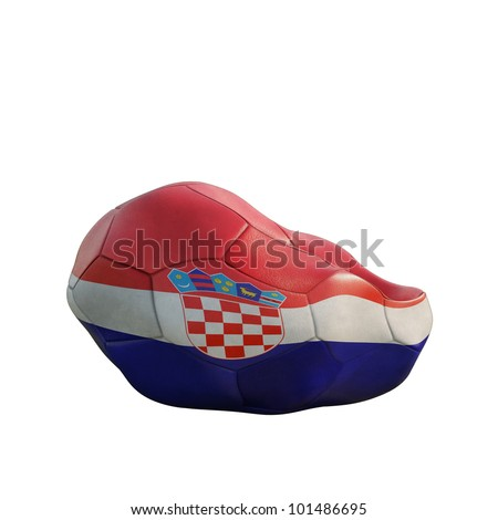 croatia deflated soccer ball isolated on white - stock photo