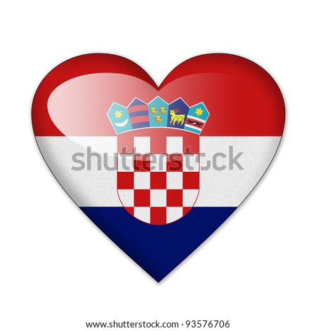 Croatia flag in heart shape isolated on white background - stock photo