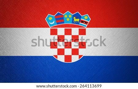 Croatia flag leather texture - stock photo