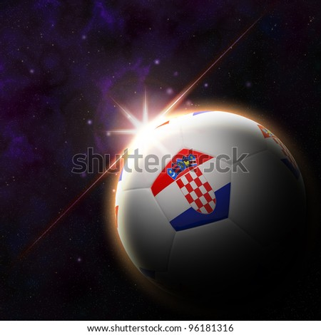Croatia flag on 3d football with rising sun illustration - stock photo