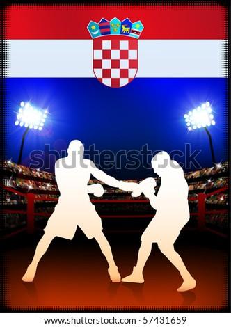 Croatia Flag with Boxer on Stadium Background Original Illustration - stock photo
