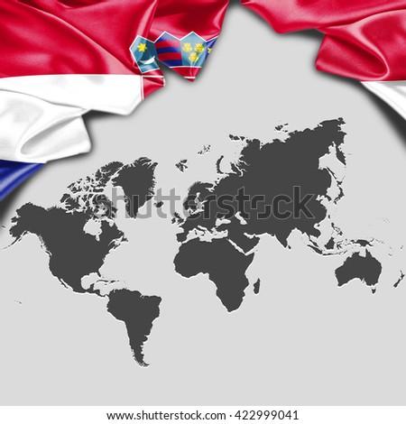 Croatia flag world map waving flag stock illustration 422999041 croatia flag with world map waving flag with typography gumiabroncs Images