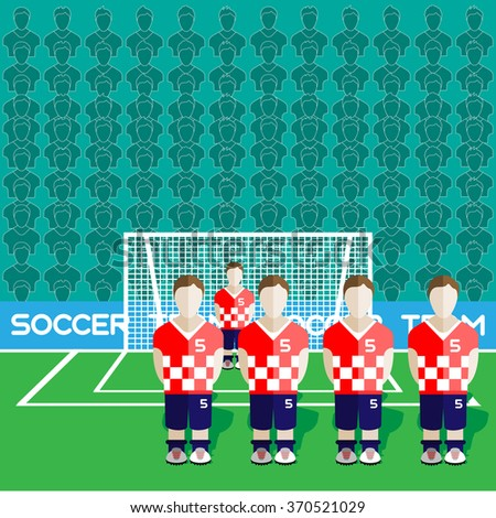 Croatia Football Club Soccer Players Silhouettes. Computer game Soccer team players big set. Sports infographic. Football Teams in Flat Style. Goalkeeper Standing in a Goal. Raster illustration. - stock photo