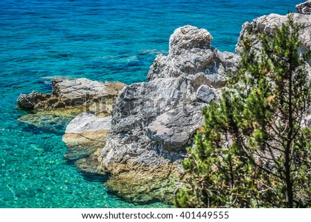 Croatia has clean blue sea called Adriatic sea, summer time in Peljesac. / Adriatic sea and coast, Croatia. / selective focus. - stock photo
