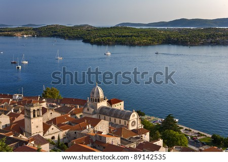 Croatia. Middle Dalmatia. Sibenik. Aerial view of the old city and cathedral - (The Cathedral of St James in Sibenik is on UNESCO World Heritage List since 2000)