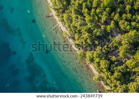 CROATIA, RAB ISLAND - JUNE 07, 2014: Aerial view of rab island coast line