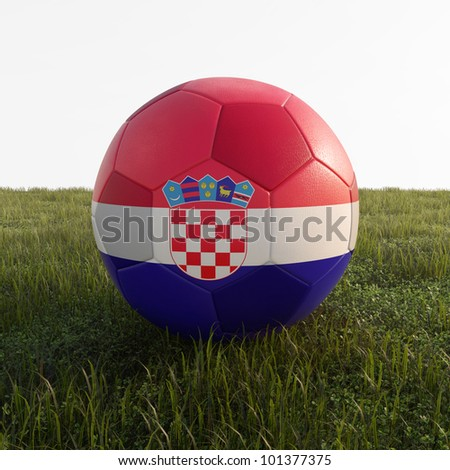 croatia soccer ball isolated on grass - stock photo