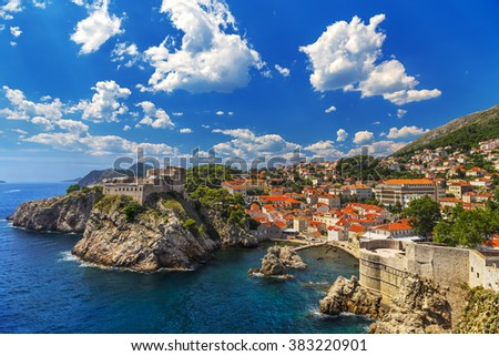 Croatia. South Dalmatia. General view of Dubrovnik - Fortresses Lovrijenac (left side) and Bokar seen from south old walls (it is on UNESCO World Heritage List since 1979) - stock photo