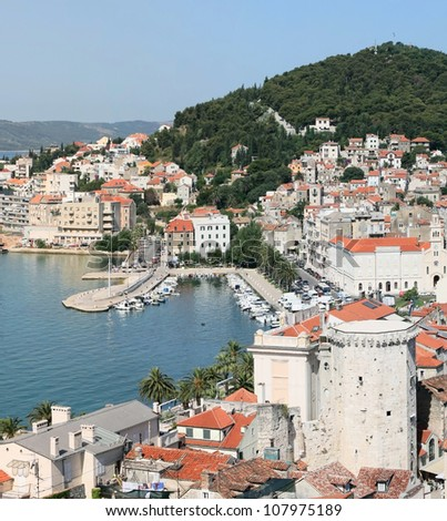 Croatia - Split in Dalmatia.Panorama of Old town rooftops - stock photo