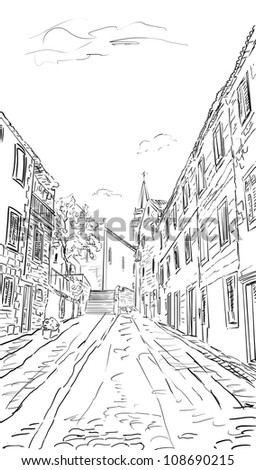Croatia town street - sketch illustration
