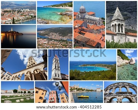 Croatia travel photo set - collage with Dalmatia coasts, Split, Trogir, Makarska, Pula, Rovinj, Sibenik and Zadar. - stock photo