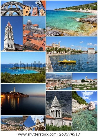 Croatia travel photo set - collage with Dalmatia coasts, Split, Trogir, Pula, Rovinj, Sibenik, Zadar and Makarska. - stock photo