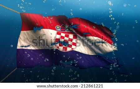 Croatia Under Water Sea Flag National Torn Bubble 3D - stock photo